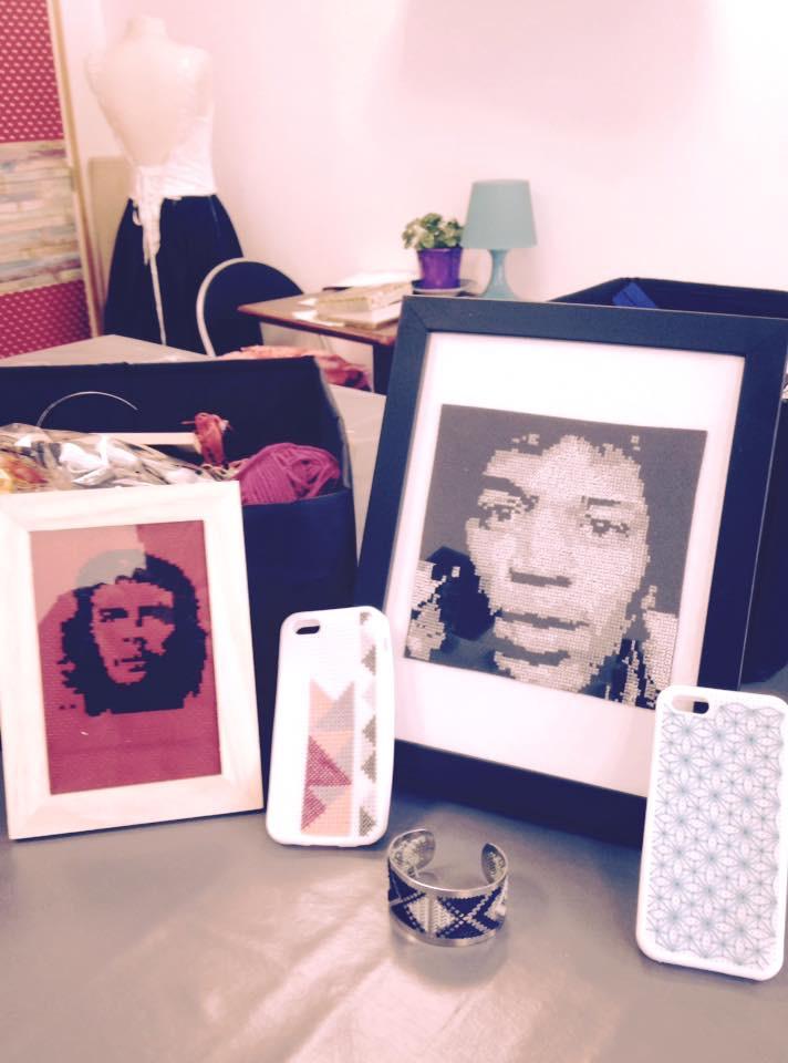 Jimmy Hendrix-chez Guevara- coque de portable-bracelet-broderie-point de croix