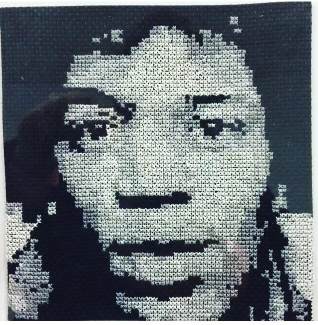 Broderie-point de croix-Jimmy Hendrix-noir et Blanc-portrait -aiguille-petite croix-fil à broder