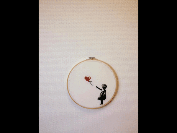 Banksy-point de croix-broderie