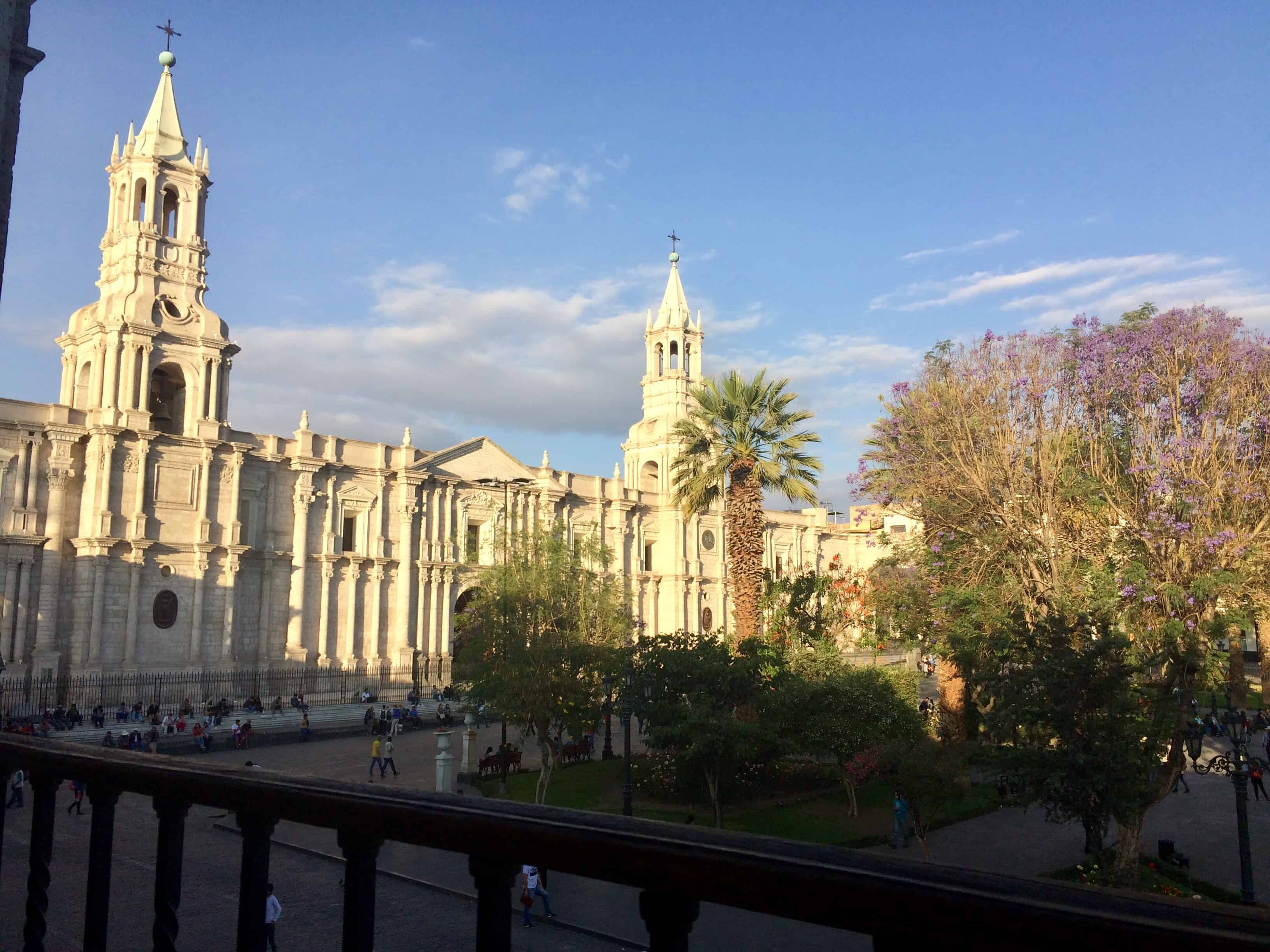 Place-arequipa-perou-palmier-cathedrale